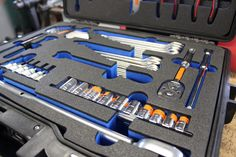This tool case with a custom foam insert was made for a motor racing team to protect all of the key tools needed when fixing up their cars. In a fast paced environment such as the pit garage, having your tools in a set place helps improve efficiency, and loss prevention.