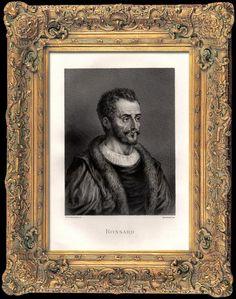Portrait de Pierre de Ronsard, gravure sur acier originale gravée par Ferd. Delannoy, 1840.- Son père meurt le 6 décembre 1544 et c'est sous la tutelle de l'helléniste Jean Dorat, précepteur de Jean-Antoine de Baïf, qu'il se familiarise avec les auteurs grecs, quand ses obligations de cour le lui permettent. Soit au collège de Coqueret soit directement auprès de Dorat, il étudie également les procédés littéraires, la littérature italienne (Dante, Pétrarque, Boccace), se forme à l'alexandrin.