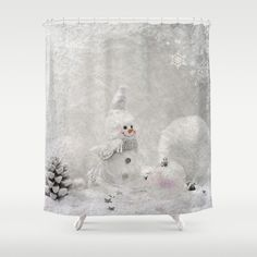 #white #christmas #winter  #snow  #snowing #snowman #holidays #frozen #freeze #showercurtain #bathroom available in different #homedecor products. Check more at society6.com/julianarw