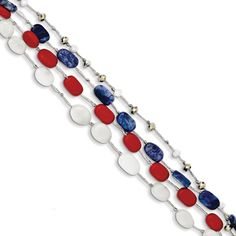 Sterling Silver Multi Crystal Red Coral, White Jade, and Lapis Bracelet