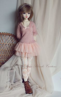 Little pink dress for Unoa with  big chest by PlumeBlanche on Etsy
