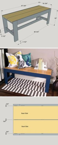 Simple lines, bold colors, and easy construction make this bench a perfect project. Whether you use it in an entryway, in a hallway, or even put it to work for another purpose, it will add style and function that you'll enjoy for years. Get the free DIY plans at buildsomething.com