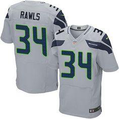 Seattle Seahawks #34 Thomas Rawls Gray Alternate NFL Nike Elite Men's Jersey