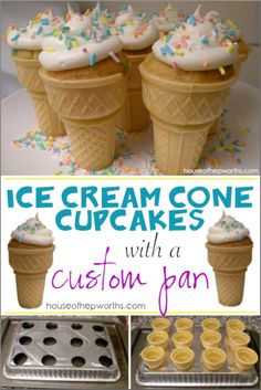 Ice Cream Cone Cupcakes with a custom pan! – House of Hepworths Ice Cream Cone Cupcakes with a custom pan! – House of Hepworths,Party Time! Make your own Ice Cream Cone Cupcakes and pan! Cake In A Cone, Ice Cream Cone Cake, Cupcake Cream, Ice Cream Cupcakes, Ice Cream Theme, Ice Cream Party, Cream Cake, Icecream Cone Cupcakes, Ice Cream Buffet