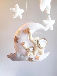 me ~ Baby Crib Mobile - Sheep Mobile - Lamb Mobile Sheep Mobile, Elephant Mobile, Felt Mobile, Baby Crib Mobile, Mobile Mobile, Felt Crafts Diy, Baby Crafts, My Little Baby, Baby Love