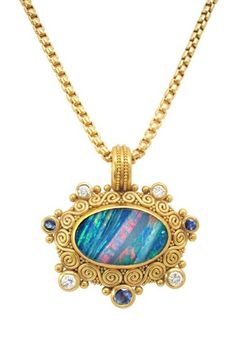 Opal, diamond, sapphire pendant necklace, gold granulation work by artist Julie Rauschenberger Opal Necklace, Opal Jewelry, Stone Jewelry, Bridal Jewelry, Jewelry Necklaces, Pendant Necklace, Jewelry Accessories, Jewelry Design, Women Jewelry