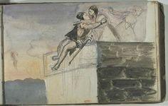 """Eugène Delacroix (1798-1863), """"Couple enlacé s'embrassant sur une terrasse…"""