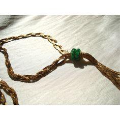 トリコットグリーンアメジストネックレス 9345yen デザインチェーンを三つ編みにして作ったネックレス