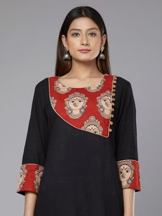 Black Red Kalamkari Devi Printed Cotton Kurta Salwar Neck Designs, Churidar Designs, Kurta Neck Design, Dress Neck Designs, Kurta Designs Women, Blouse Designs, Salwar Pattern, Kurta Patterns, Kurtha Designs