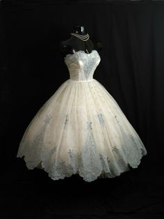Vintage 1950's 50s Bombshell STRAPLESS Ivory Blue Flocked Floral Chiffon Organza Party Prom Wedding DRESS. $449.99, via Etsy.