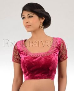 #Exclusivelyin, #IndianEthnicWear, #IndianWear, #Fashion, Magenta Velvet Sari Blouse With Mamoodi Antique Embroidery