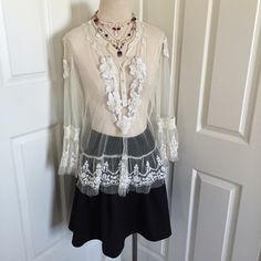 Sundance Lace Blouse GUC: bell sleeves; lace, bead, faux pearl, & satin detail; 5 button front; no stains, no tears, no missing detail; tag says size 12-fits up to a size 8 Sundance Tops Blouses