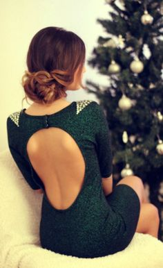 green open back dress