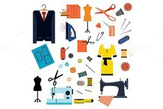 Sewing and tailoring flat icons. Clothes Icons. $8.00