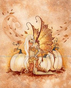 White Pumpkins autumn fall fairy 8X10 PRINT by Amy Brown