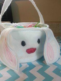 rabbit/bird felt easter baskets.  for church/school egg hunts where i don't want them to take their good baskets!