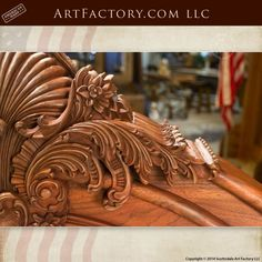 Hand Carved Walnut Bed: Fine Art Wood Carvings By Master Craftsmen - high relief acanthus leaf designer headboard and footboard with fine art quality finish Wood Carving Designs, Wood Carving Art, Wood Carvings, Latest Wooden Bed Designs, Diy Solar System, Wood Bed Design, Wood Bedroom Furniture, Headboard Designs, Motif Design
