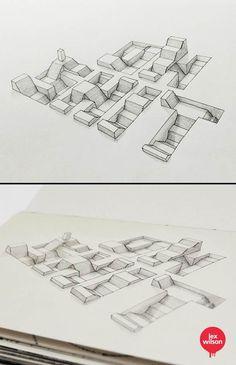 """""""3D Typography"""", une jolie série de lettrages 3D du graphic designer anglais Lex Wilson, basé à Londres et passionné de typographie, qui s'amuse ici avec l"""