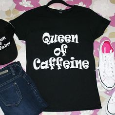"""Queen Of Caffeine"" Short Sleeves Graphic Top"