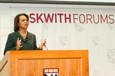 Former U.S. Secretary of State Condoleezza Rice Presents at an Askwith Forum