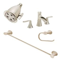 """Speakman BB-H412-BN Brushed Nickel Caspian Widespread Bathroom Faucet Bundle with Shower Head, Tissue Holder and 24"""" Towel Bar - FaucetDirect.com"""