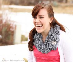 Randomly Shirred (and Stretchy) Scarf   - in cream, white, navy, black, gray, or possibly the lightest of light pinks. [@Linda Kraft]