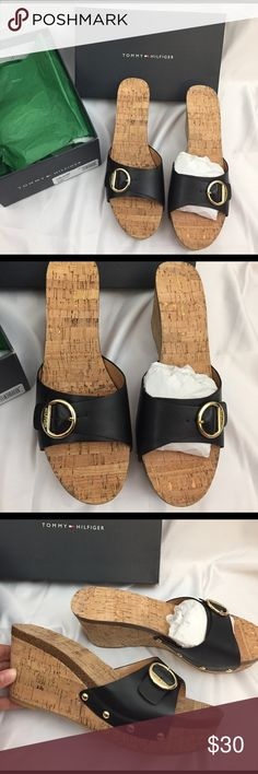 NWT Tommy Leather Sandals New In original box and packaging Tommy Hilfiger slip on wedge sandals. Black leather strap with gold buckle and cork style shoe. Gold embellishment on the bottom sides of leather strap. The TH style of shoe is called Honora. Size 10. Never worn. Tommy Hilfiger Shoes Sandals