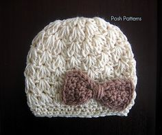 Cluster V-Stitch Crochet Hat Pattern by Posh Patterns