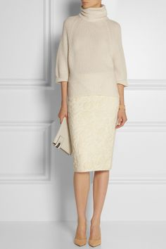 The Row jacquard-knit skirt + Agnona Cashmere and mohair-blend turtleneck sweater #fashion #look #creme