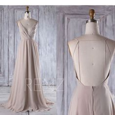 2017 Creme Chiffon Brautjungfer Kleid tiefe