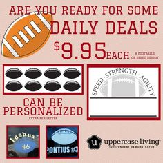 Are you ready for some football???? Peewee leagues! High School  players!  These would be great to do for all the players! You can do the sheet of 8 footballs for only $9.95 and with a little extra you can add their names and number using MyDesign Suite! Support your team! Offer good today (08.31.16) only at this price! #teamsports #football #WhenWallsTalk #dailydeal #ULVinyl