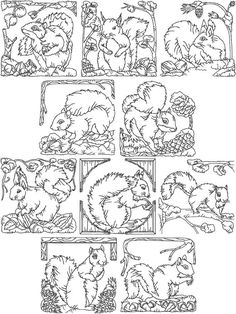Free Redwork Embroidery Patterns | Redwork Squirrel Set (Now 25% Off!)