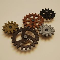 Steampunk Gear Magnets Set of 5 Functional Spinning by DFDStudio.