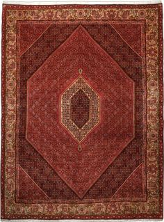 "Bidjar Terracotta Classic Medallion Carpet CS-M995926345 X 262 Cm. (11'5"" X 8'7"" Ft.) - Carpetsanta"