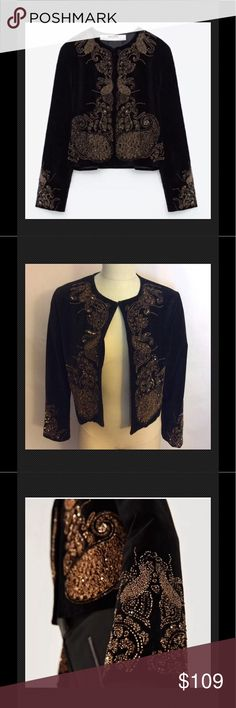 """Zara Beaded Velvet Cropped Blazer Black Size Large NWT $129 Zara Beaded Velvet Cropped Blazer Black Size Large Runs Small Your new go to piece. Add a skirt, palazzo pants, a dress. Stunning piece is a part of their Evening Collection this open style black velvet cropped jacket embellished with gold and bronze seed beads on the front and sleeves.  Top hidden button closure Lined solid black polyester  Cotton Hand wash  India  38"""" across chest 18-1/2"""" L shoulder to hem sleeves are 22-1/2"""" L…"""