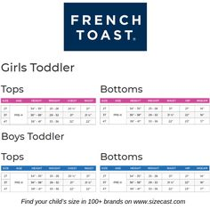 French Toast size chart, baby clothes size chart, baby clothing size chart, kids clothes size chart, kids clothing size chart, Predict your baby's future size in French Toast and 100+ other brands on www.sizecast.com Size Chart For Kids, Charts For Kids, Toddler Outfits, Kids Outfits, Baby Clothes Sizes, Boys Uniforms, Baby Growth, Sock Shop, Clothing Size Chart