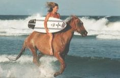 Horses, the beach and surfing. Paddle Board Surfing, Paddle Boarding, Surfer Girl Style, Surf City, Surf Style, Surf Girls, Surfs Up, Horse Girl, Byron Bay