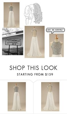 """White A Line Scoop Neck Chiffon Floor Length Beading Open Back Long Prom Dress"" by harrydress on Polyvore featuring Dirty Pretty Things"