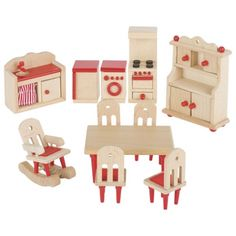 Cucina casa delle bambole Dining Furniture Sets, Dining Table Chairs, Red Kitchen, Kitchen Dining, Kitchen Sink, Wooden Dollhouse, Dollhouse Furniture, Patio Blocks, Handmade Wooden Toys