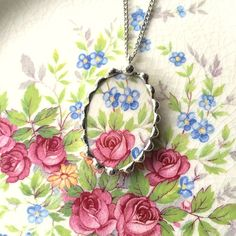 Broken china jewelry oval pendant necklace antique pink cabbage roses with blue forget me nots