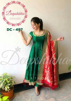 Simple Gown Design, Long Dress Design, Dress Neck Designs, Long Gown Dress, Lehnga Dress, Anarkali Lehenga, Long Frock, Anarkali Suits, Long Dresses