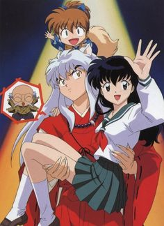 Shippo, InuYasha annoyed with Myogo on his shoulder while holding Kagome - InuYasha Official Artwork