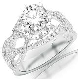 2.25 Carat Round Cut / Shape GIA Certified 14K White Gold Eternity Love Twisting Split Shank Pave-set