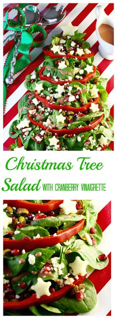 Festive easy Christmas Tree Salad with Cranberry Vinaigrette will be the talk of your holiday or Christmas party. Serve on a wrapped board tied with a bow!
