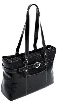 Siamod 35265 Serra Italian Leather Ladies Laptop Tote (Black)