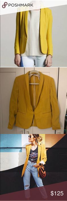 Rag bone mustard yellow tuxedo blazer Excellent condition. No seen wear or flaws rag & bone Jackets & Coats Blazers