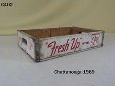VINTAGE 7UP SEVEN UP SODA POP DRINK WOOD BOTTLE CRATE ADVERTISING CHATTANOOGA  #7UP