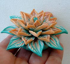 Flower Focal Bead  Hand sculpted polymer clay Gold and by ZudaGay, $17.00