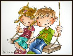 Together With You Boy Skin: Boy Hair: Boy Clothes: Girl Skin: Girl Hair: Girl Clothes: Swing: Colouring Techniques, Child Day, Boy Hairstyles, Scrapbook Cards, Scrapbooking, Copic Markers, Copics, Color Combos, Color Inspiration