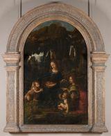 Leonardo di ser Piero DA VINCI, dit Léonard de Vinci (Vinci, 1452 - Amboise, 1519)  La Vierge aux rochers  Bois transposé sur toile en 1806 par Hacquin  H. : 1,99 m. ; L. : 1,22 m.  Collection de François Ier  INV. 777